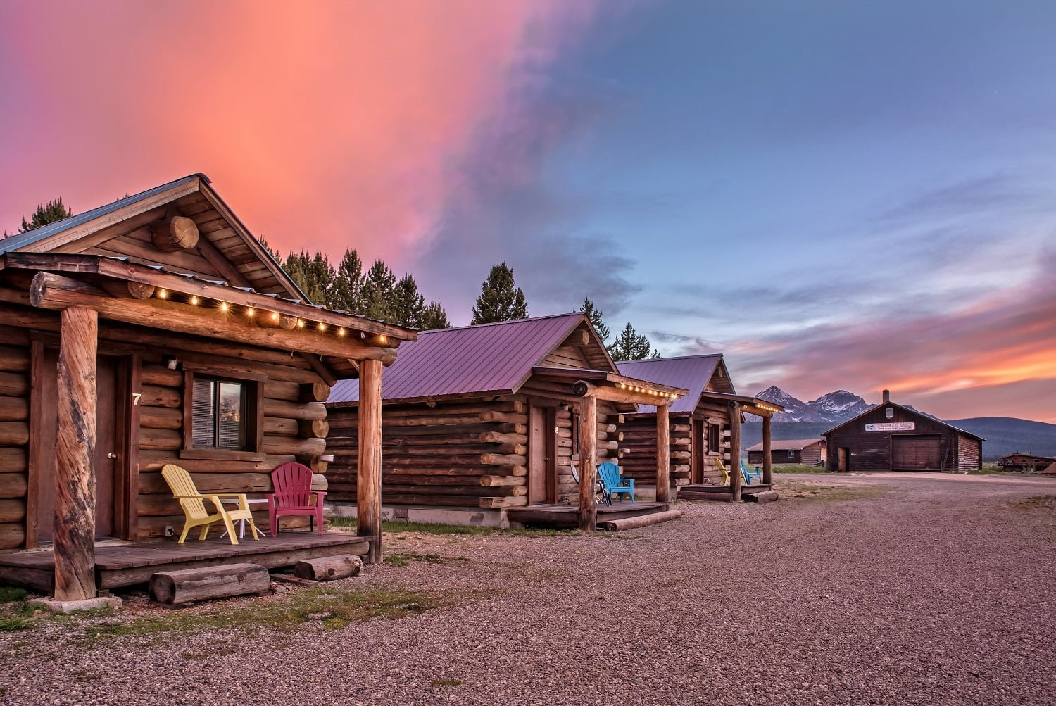 Triangle C Cabins with the sky in the background