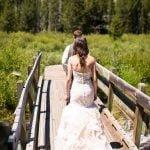 couple walking on bridge