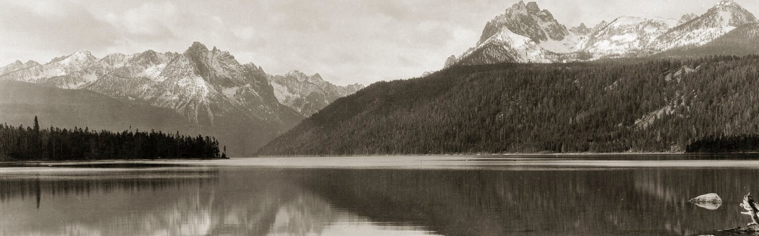 Redfish Lake Lodge Black and White View of Mountains